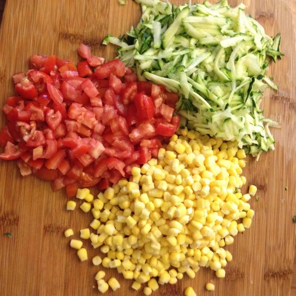 lettuce, tomatoes and corn