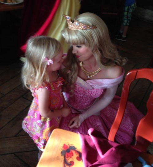 little girl meeting princess Aurora