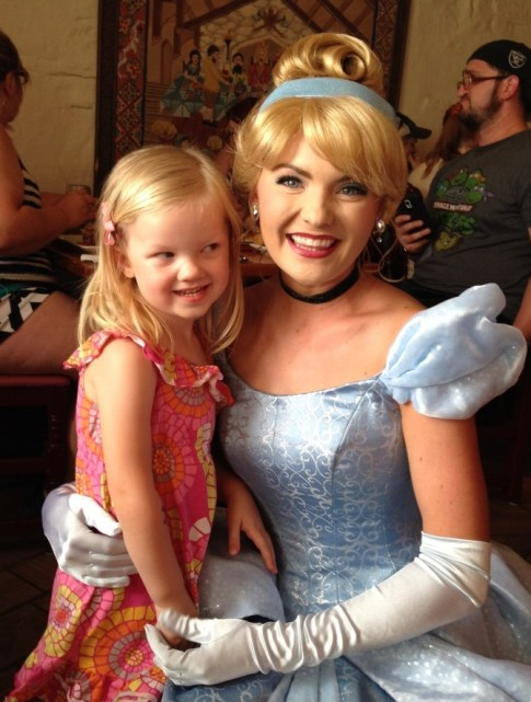 little girl meeting cinderella