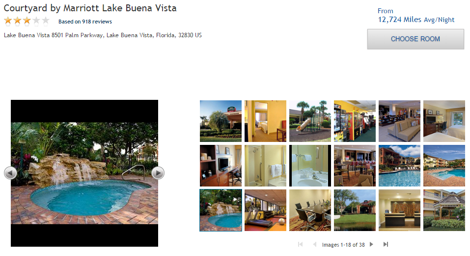 hotel example on the skymiles marketplace website