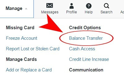 balance transfer on website