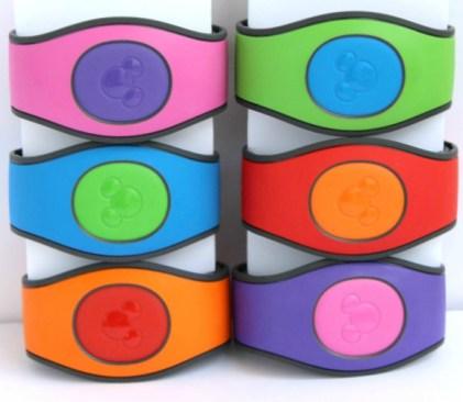 multi colored disney magic bands