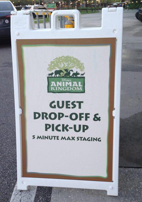 guest pick-up signage at Animal Kingdom