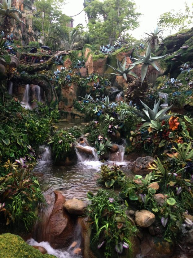 plants and waterfall in Pandora