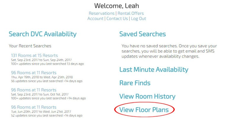 DVC App account, view floor plans option