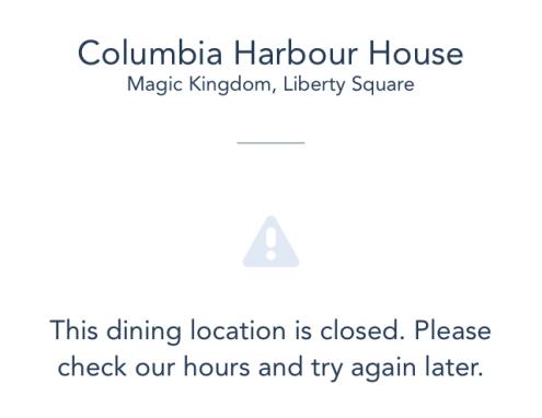 Columbia Harbour House on the disney app