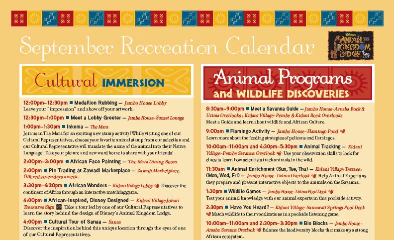 Recreation Calendar for animal kingdom lodge