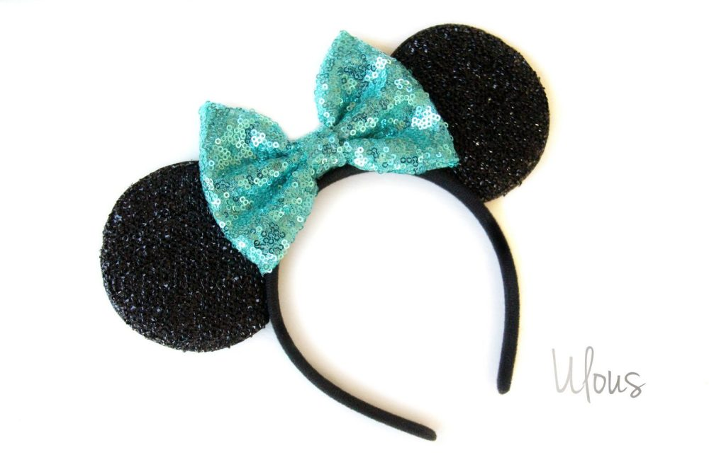 seafoam sparkly minnie mouse ears