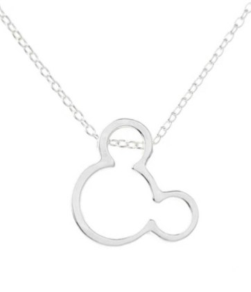 silver finish mickey mouse head necklace
