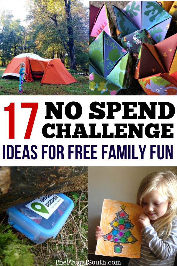 Get my 17 ideas for family fun during a No Spend Challenge! Saving money is hard but a no spend weekend helps dramatically. Learn these surprising money saving tips for cutting spending and reaching your money goals (all while enjoying some family friendly fun!) #nospend #savingmoney #moneysavingtips #savingschallenge