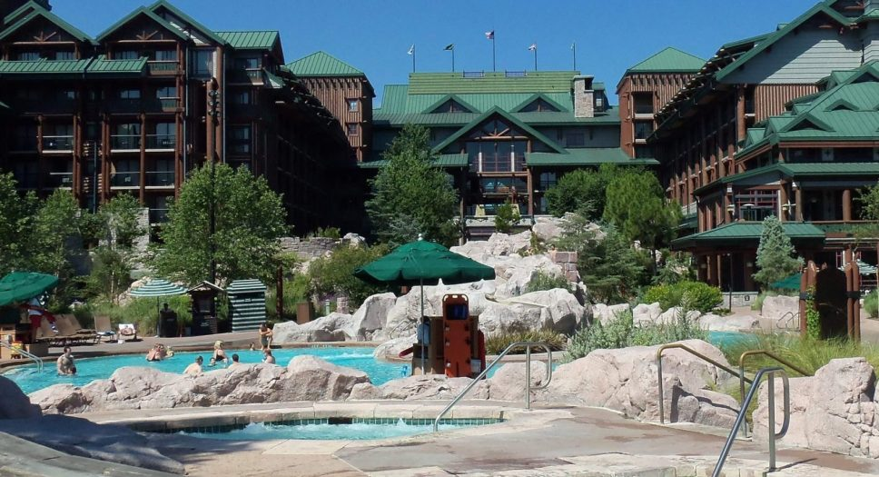 Pool and exterior of disney's wilderness lodge