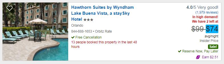 Orbitz hotel option