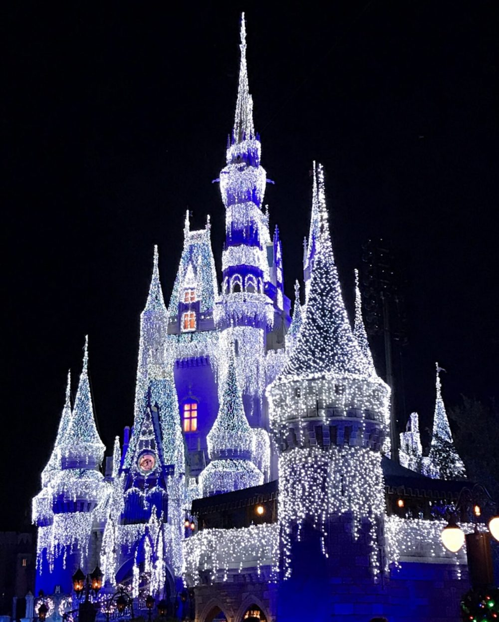 Cinderella Castle with lights during the holidays