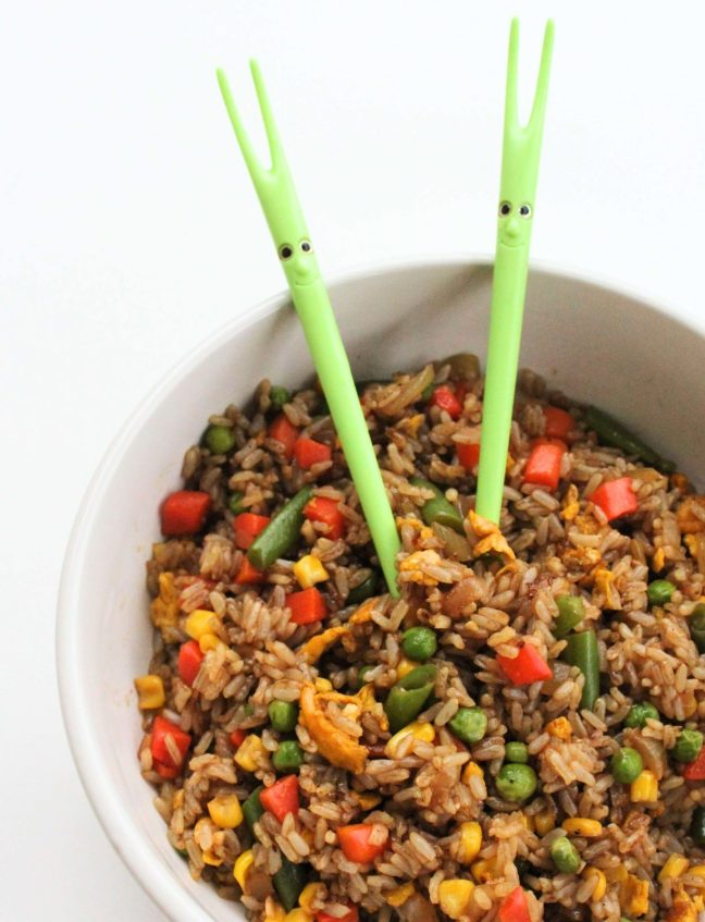 Veggie Fried Rice with chopsticks