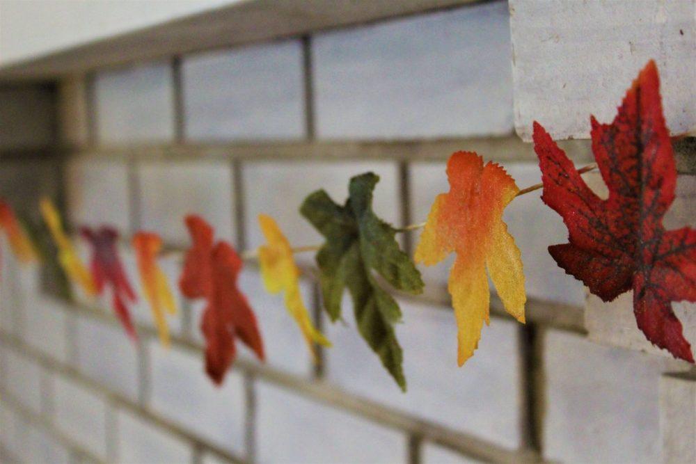 DIY Leaf Garland hanging from Mantle