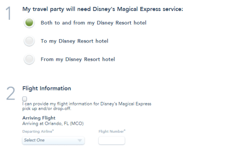 Screenshot of Disney Magical Express reservation form