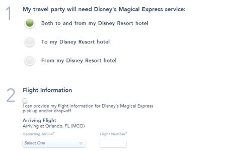 Screenshot of Disney Magical Express reservation form