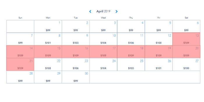 April 2019 calendar showing the busiest times at Disney World