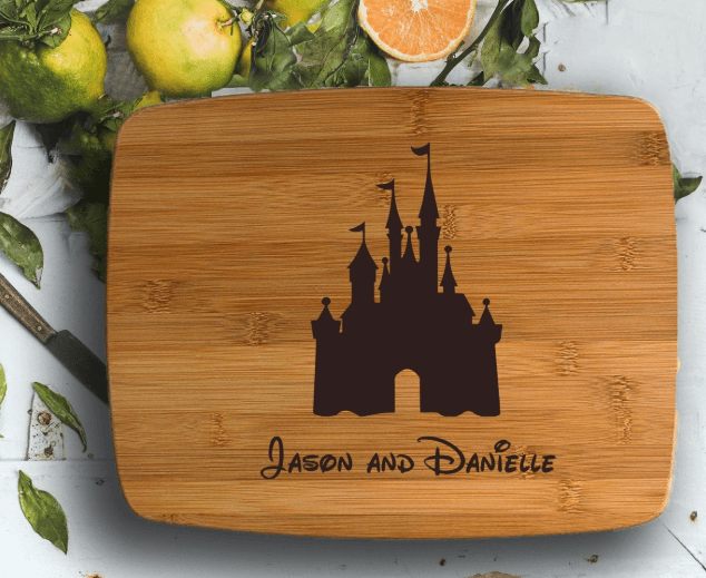 Custom cutting board with cinderella's castle image