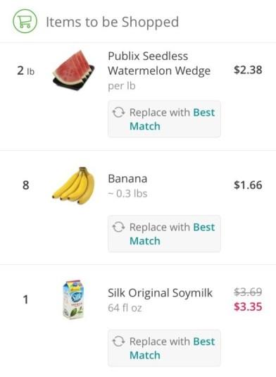 instacart grocery items