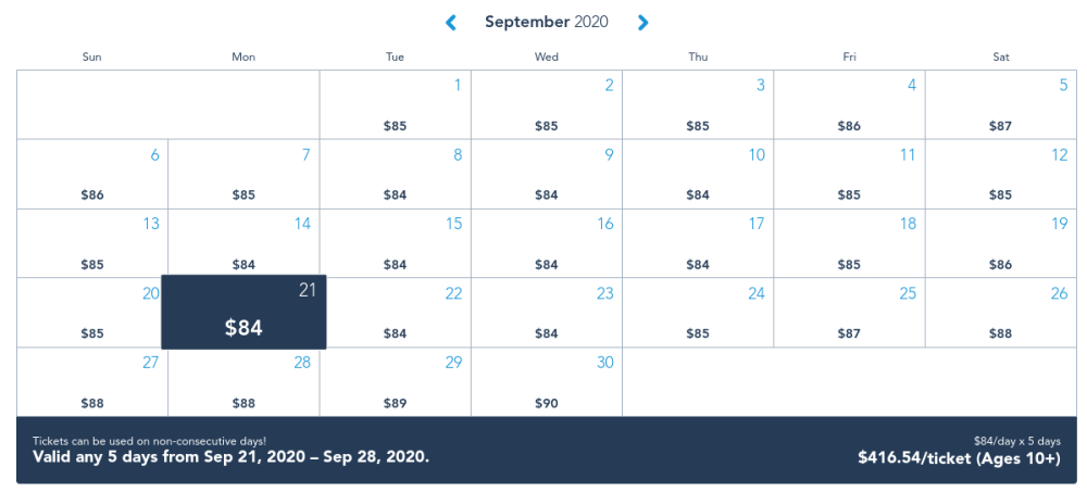 calendar with pricing