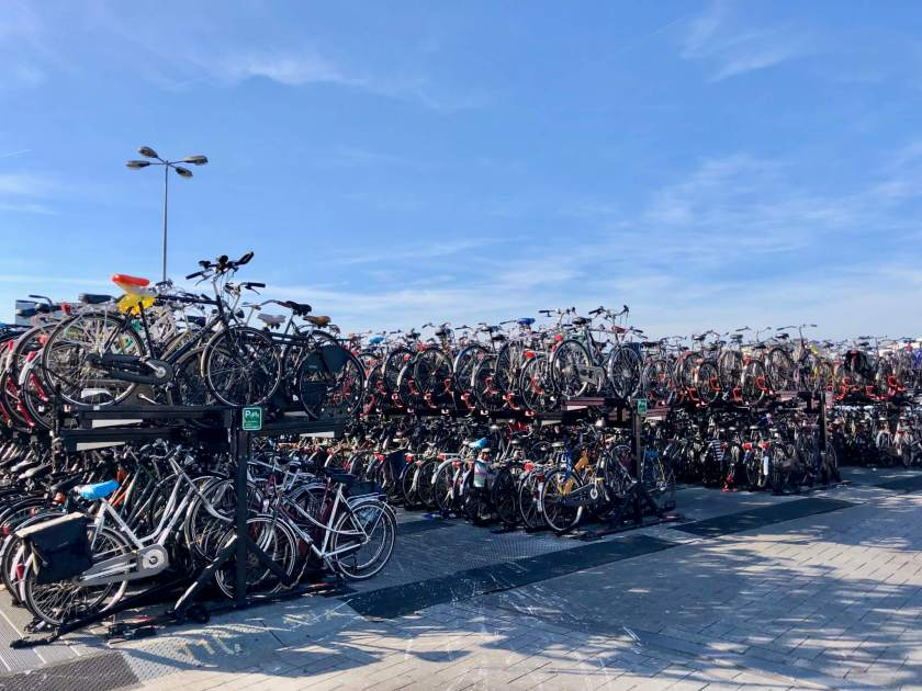 Hundreds of bicycles stored along the street in Amsterdam.