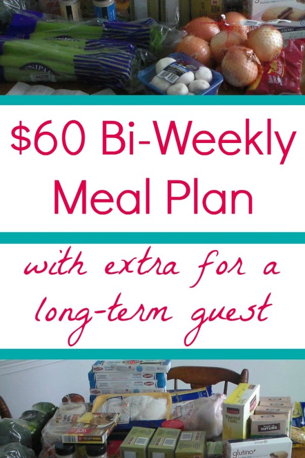 $60 Bi-weekly Meal Plan with extra for a long-term guest