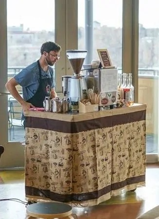 barista guy at event - barista-guy-at-event - The Funky Brewster Coffee Catering