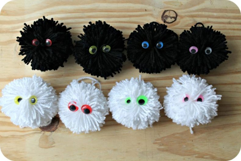 diy pompon monsters - the funky fresh project