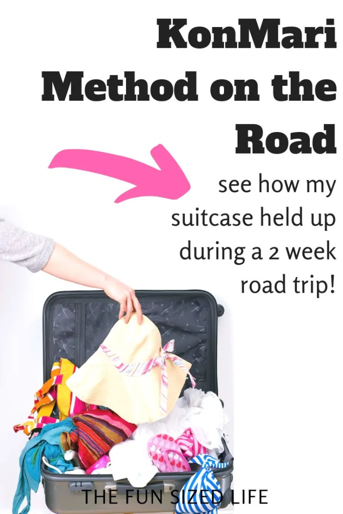 Check out my full guide to a KonMari Method suitcase! We took a 2 week family road trip and thought we'd test KonMari folding on the road! See how it went.