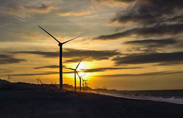 The Bangui windmills at sundown.