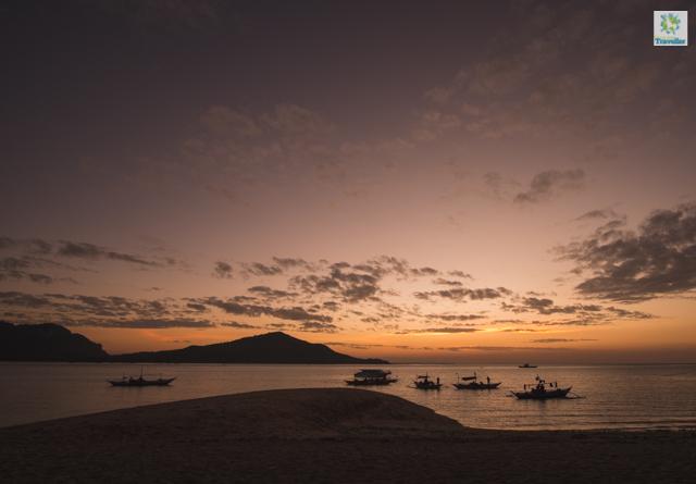 Lango sandbar at sun down.