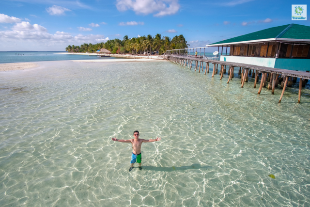 At the shallow waters of Onuk Island. Day use is P1,500 while overnight stay is P3,000 to P5,000 depending on your tour operator.