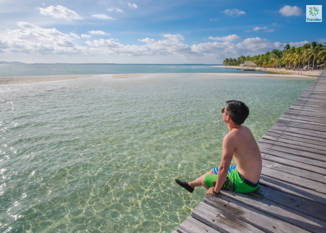 Sitting at the boardwalk of Onuk Island.