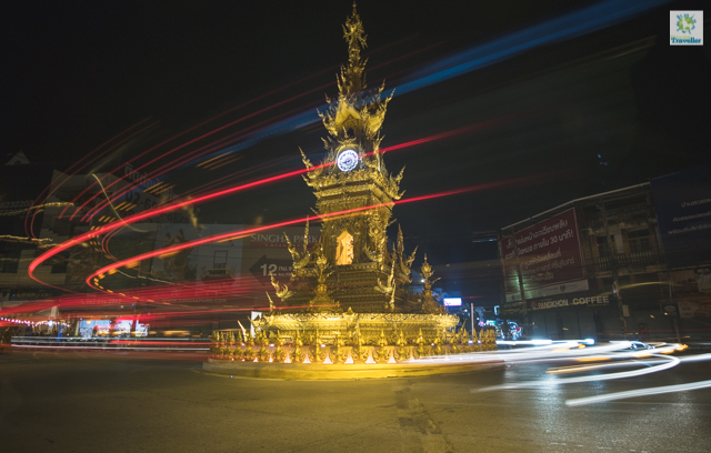 A timelapse of the Clock Tower at the busy roundabout of Chiang Rai city center.