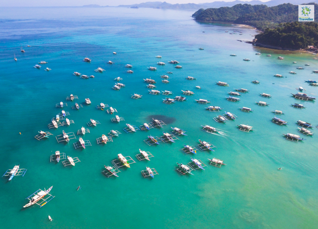 An aerial shot of all the boats for El Nido island hopping.