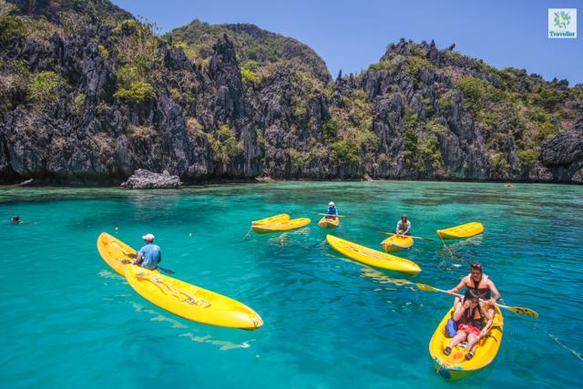 Kayaking activity at the mouth of Big Lagoon.