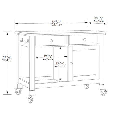 Sauder original cottage mobile kitchen island 414385 for Perfect kitchen island dimensions