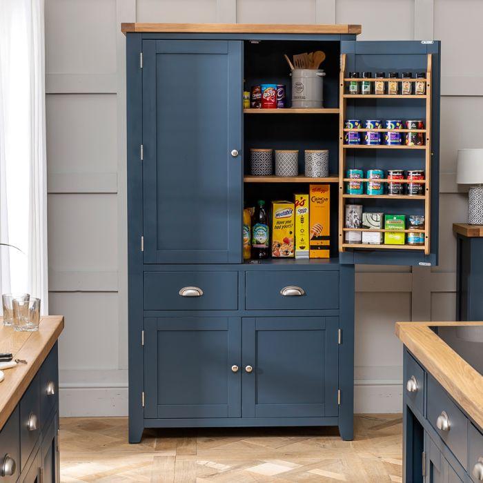 Westbury Blue Painted Large Kitchen Larder Pantry Cupboard The Furniture Market