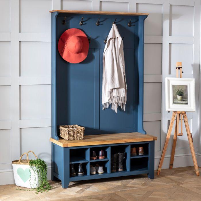 westbury blue hallway tidy shoe storage bench with coat rack