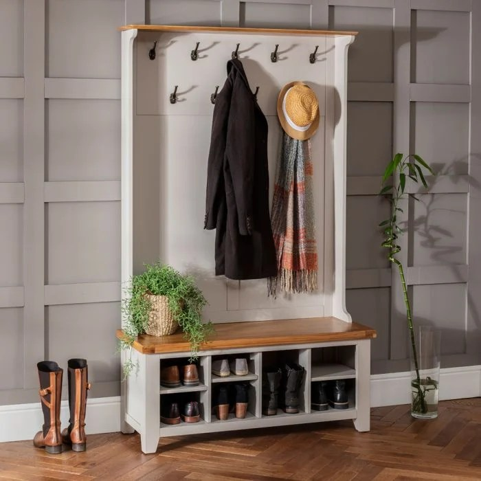 downton grey hallway tidy shoe storage bench with coat rack
