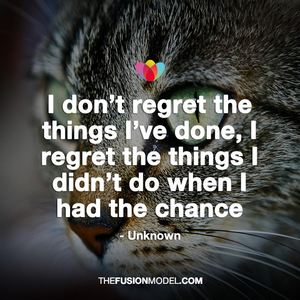 I I Regret Have Things Dont Wen Do Had Things I I Done Chance Didnt Regret I