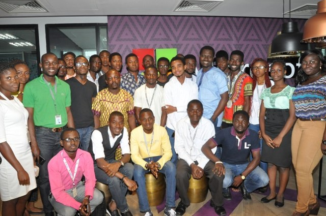 Group picture with Olusola Amusan of Microsoft Nigeria and Bukonla Adebakin of The Future Project