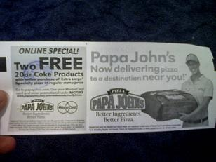American Airlines Boarding Pass with Papa John's Coupon