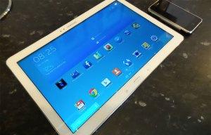 Samsung Galaxy Tab Pro 12.2 next to iPhone