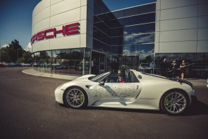 Porsche 918 Spyder Hybrid Hypercar arriving at the Porsche Experience Centre