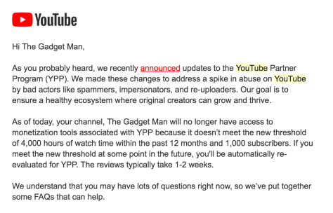 YouTube Confirms Removal of Monetisation