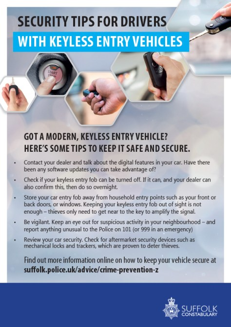 Security Tips for Drivers with Keyless Entry Vehicles - Suffolk Police