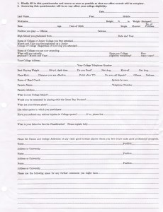 Packers questionnaire