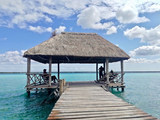swim off this dock in Bacalar, Mexico